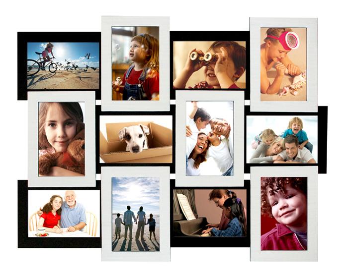 """Фото коллаж для 12 фотографій """"Біле на Чорному"""" класичний опт"""