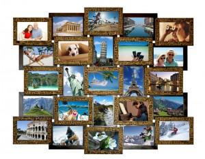 Рамка для 25 фотографий деревянная шоколадного цвета