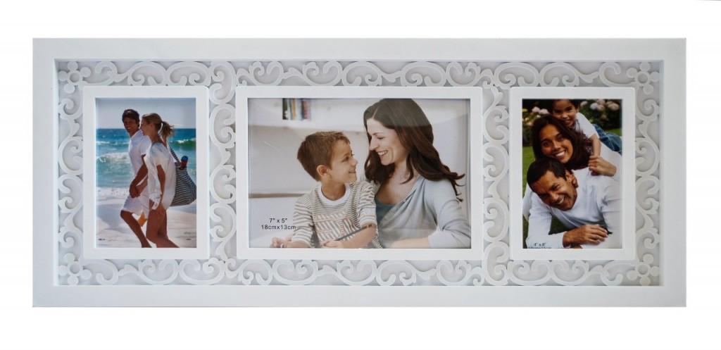 рама для фотографий белого пластика с узором Hidu Fancy 1+2