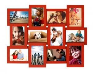 Велика червона фоторамка Collage Family з підвісками для кріплення на стіні