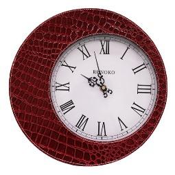 Дизайнерские Часы кожаные настенные Кожа крокодила